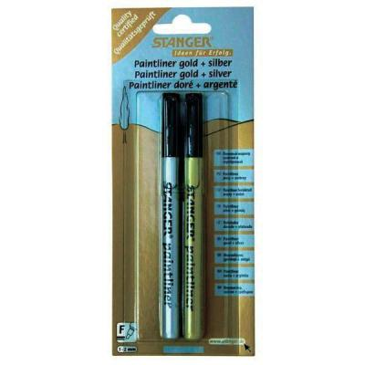 Набор лаковых маркеров Stanger 1 мм 2 шт золотистый серебристый