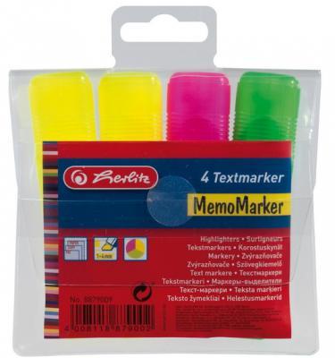 Набор текстмаркеров Herlitz 8879009 1 мм 4 шт разноцветный