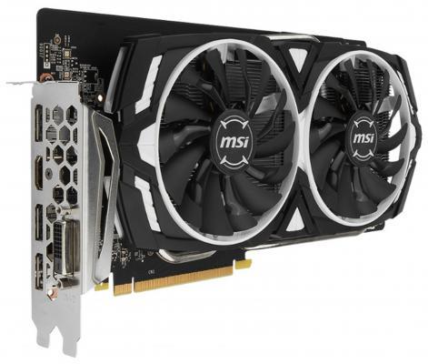 Видеокарта 6144Mb MSI GeForce GTX 1060 Armor OCV1 6G PCI-E 192bit GDDR5 DVI HDMI DP HDCP GTX 1060 ARMOR 6G OC Retail