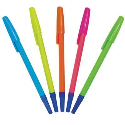 Шариковая ручка СТАММ РШ 049 синий 1 мм РШ01 флюоресцентная