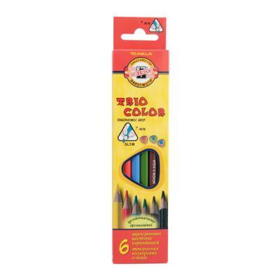 Набор карандашей цветных TRIOCOLOR трехгранных, 6 цв., с европодвесом bic набор цветных трехгранных карандашей evolution 12 цветов