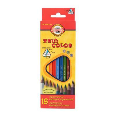 Набор цветных карандашей Koh-i-Noor Triocolor 18 шт 17.5 см 3133/18 набор цветных карандашей koh i noor triocolor 24 шт 17 5 см 3134 24