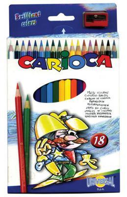 Фото - Набор цветных карандашей Universal Carioca 18 шт 17.5 см односторонние 41865 + точилка 41865 набор цветных карандашей universal carioca jumbo 12 шт 41406 12