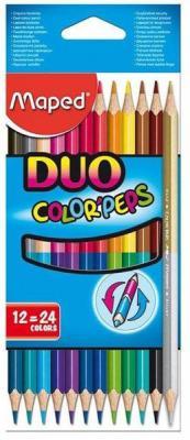 Набор цветных карандашей Maped Color Peps 12 шт 17.5 см двухсторонние 829600 карандаши набор 15цв maped мапед color peps в пластиковом пенале