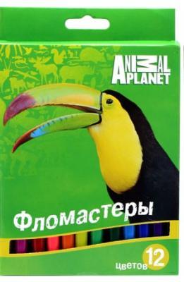 Набор фломастеров Action! ANIMAL PLANET 12 шт разноцветный AP-AWP105-12 AP-AWP105-12