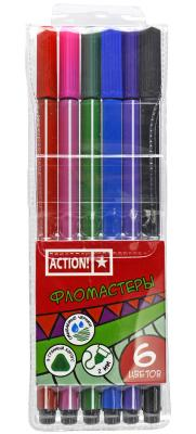 Набор фломастеров Action! AWP151-06 2 мм 6 шт разноцветный AWP151-06 скейтборд action shc 06