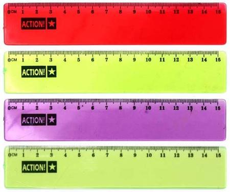 Линейка 15см, флюоресцентная, прозрачная, пластиковая, 4цв, в инд.пакете с европодвесом APR15/TF