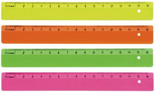 Линейка цветная, флюоресцентная, 4 цв., 16 см ЛН01