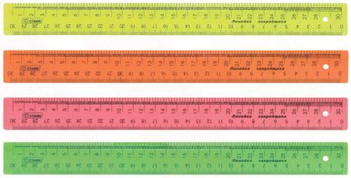 Линейка закройщика цветная, флюоресцентная, 4 цв., 30 см ЛН71