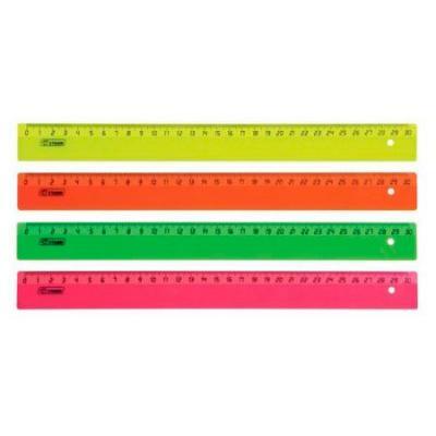 Линейка тонированная флюоресцентная, 50см, 4 цвета