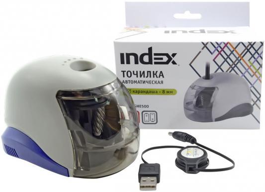 Точилка Index ISHE500 пластик серый канцелярия index механическая точилка