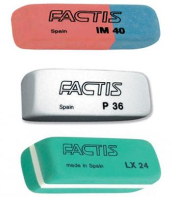 Набор ластиков Factis IM40, P36, LX24 3 шт прямоугольный ластик factis p36 1 шт прямоугольный