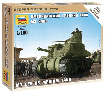 """Танк Звезда """"Американский средний танк М3 """"Ли"""" 1:100 зеленый 6264 цена и фото"""
