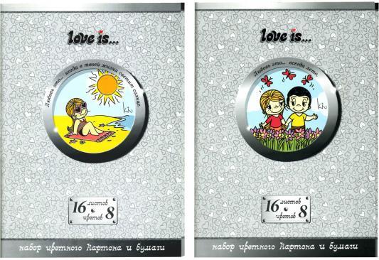 Набор цветного картона Action! LOVE IS A4 16 листов LI-CCP-16/8 набор цветного мелованного картона action love is ф а4 10 л 10 цв 8цв зол и сер 2 дизайна action