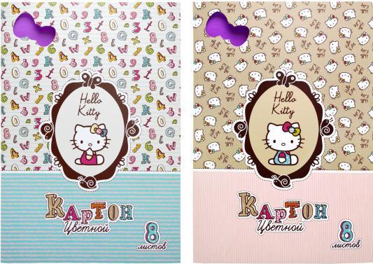 Картинка для Набор цветного картона Action! HELLO KITTY A4 8 листов HKO-ACC-8/8-2 в ассортименте