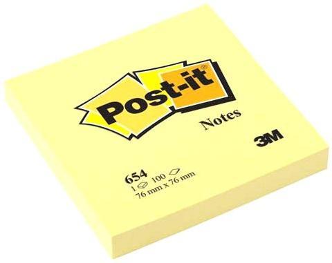 Бумага с липким слоем 3M 100 листов 76x76 мм желтый 654-RU