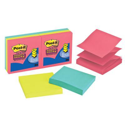 Бумага для заметок POST-IT, с липким слоем, Z-слож., холодный неон, Super Sticky, 6бл R330-6SSUC