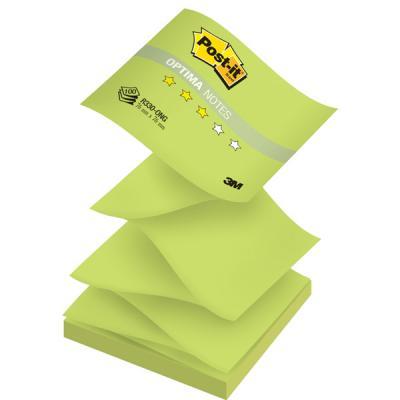 Бумага для заметок с липким слоем POST-IT OPTIMA -Весна, 76х76 мм, зеленый неон, Z-слож., 100 л. R330-ONG