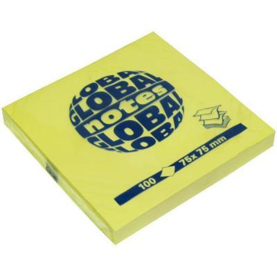 Бумага для заметок с липким слоем Z-сложения, разм. 75х75 мм, желтая, 100 л. 364401