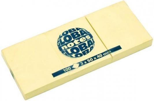 Бумага с липким слоем Global 100 листов 50х40 мм желтый 365301