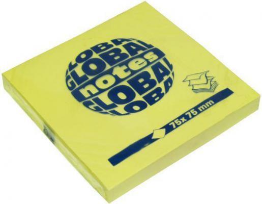 Бумага с липким слоем Global 80 листов 75х75 мм ярко-желтый 365434