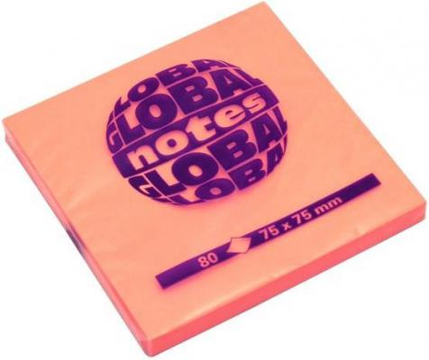 Бумага с липким слоем Global 80 листов 75х75 мм ярко-оранжевый 365435
