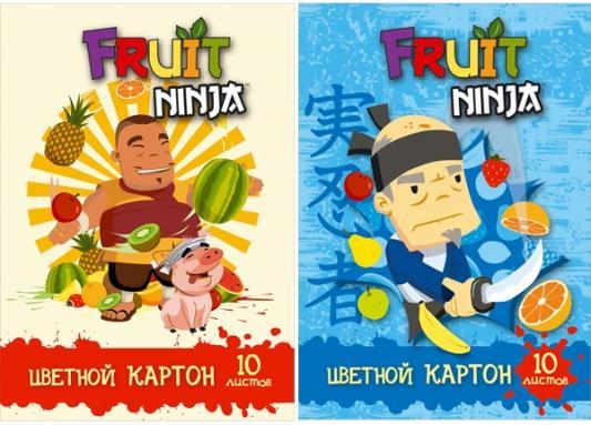 Набор цветного картона Action! Fruit Ninja A4 10 листов FN-CC-10/10 в ассортименте
