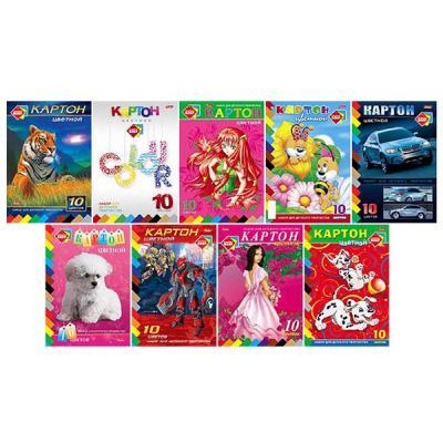 Набор цветного картона Хатбер A4 10 листов 10Кц4/АСС*