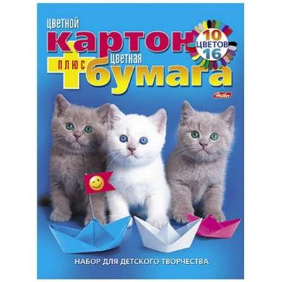 Набор цветного картона Хатбер МИЛЫЕ КОТЯТА A4 10 листов 023536 26НКБ4к 9573