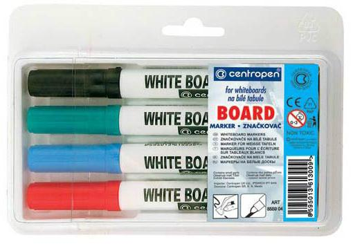 Маркер для доски Centropen 8559/4PVC 2.5 мм 4 шт разноцветный маркер флуоресцентный centropen 8722 1о оранжевый 8722 1о