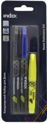 Набор маркеров Index IHS-set 3 шт черный синий желтый