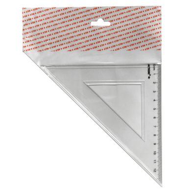 Треугольник 45*, длина 12 см,прозрачный,пластиковый,в инд.пакете с европодвесом APR11/45/TR