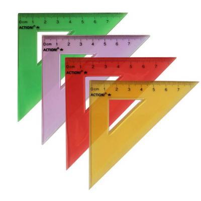 Треугольник 45*, длина 7 см,флюоресцентный,прозрачный,пластиковый,4цв,в инд.пакете с европодвесом APR7/45/TF