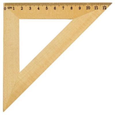 Треугольник 45*, длина 12см, деревянный, в инд.пакете с европодвесом AWR12/45