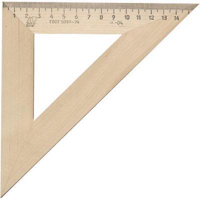 Треугольник деревянный, 45*, 16 см, со штрихкодом С 16/ШК