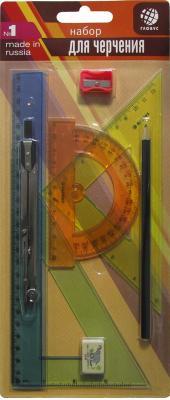 Набор геометрический, 8 предметов (циркуль стальной, никелир. (70) L-155), в блистере НГ8-02