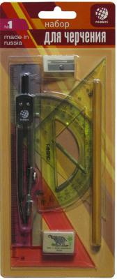 Набор геометрический (НМ-8-01),8 предметов (Циркуль литой, окрашенный (40) L-125), в блистере НГ8-01