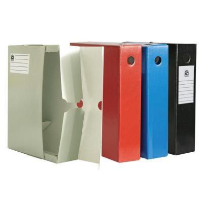 Лоток-коробка архивный, лакированный микрогофрокартон, 470 г/кв.м, 250x75x315 мм, красный SAB713/RD