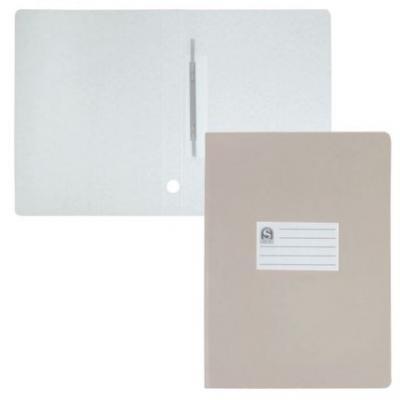 Офис-папка скоросшиватель, лакированный микрогофрокартон, 470 г/кв.м,233х30х315 мм, серый SRC724/GR