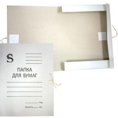 Папка на завязках, белая, с приклеенными клапанами, в коробе, 0,4 мм(280г/м2) SFTT