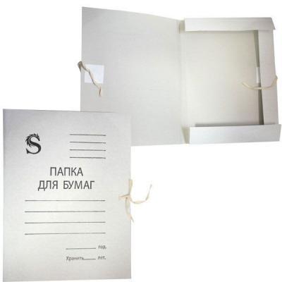 Папка на завязках, белая, с приклеенными клапанами, в коробе, 0,35 мм(220г/м2) SFTS