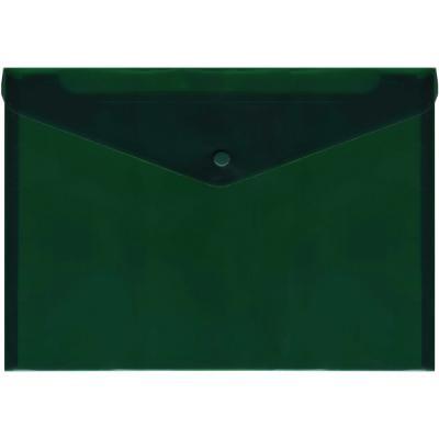 Папка-конверт с кнопкой, полупрозрачный, зеленый, A4 IPF352/GN