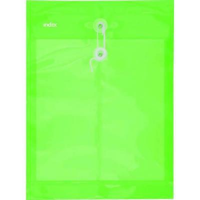 Папка-конверт на завязках, зеленая, A4 IPF364/GN