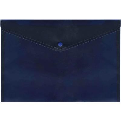 Папка-конверт с кнопкой, полупрозрачный, синий, A4 IPF352/BU