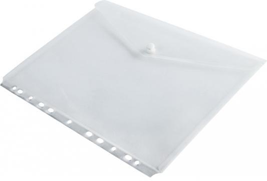 Папка-конверт на кнопке с европланкой, ф.A4, прозрачный, материал PP, 120 л., плотность 160 мкр