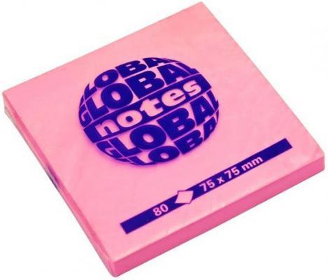Бумага с липким слоем Global 80 листов 75х75 мм ярко-розовый 365432