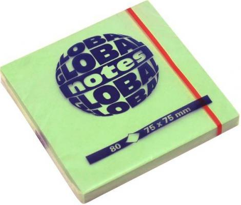 Бумага с липким слоем Global 80 листов 75х75 мм ярко-зеленый 365433