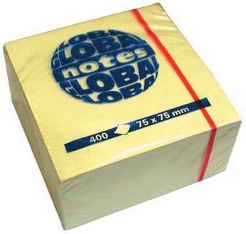 Бумага с липким слоем Global 400 листов 75х75 мм желтый 382001