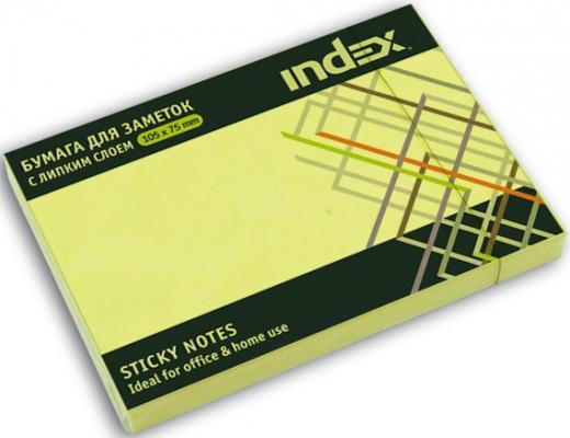Бумага с липким слоем Index 100 листов 105х75 мм желтый I434801