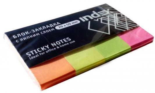 Бумага с липким слоем Index 160 листов 20x50 мм оранжевый желтый зеленый розовый